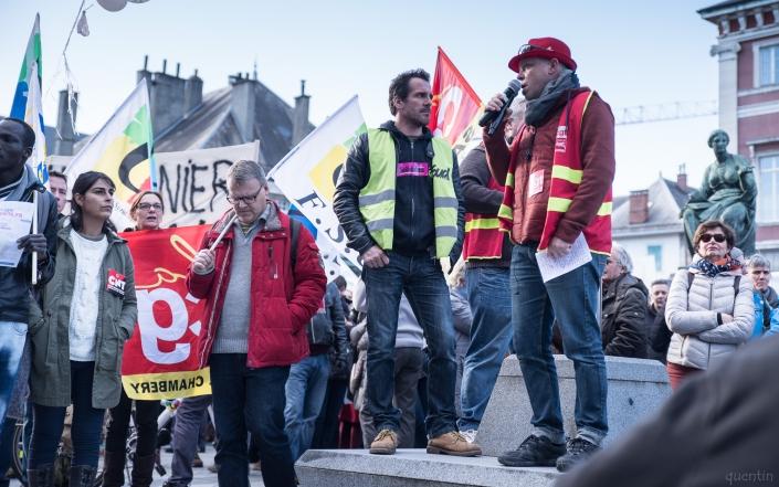 prise de parole des différents syndicats
