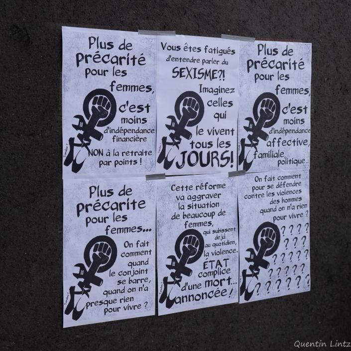 affiches féministes contre la réforme des retraites