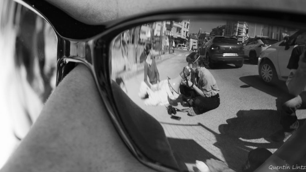 reflet dans les lunettes (NB)