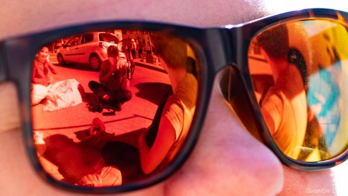 reflet dans les lunettes