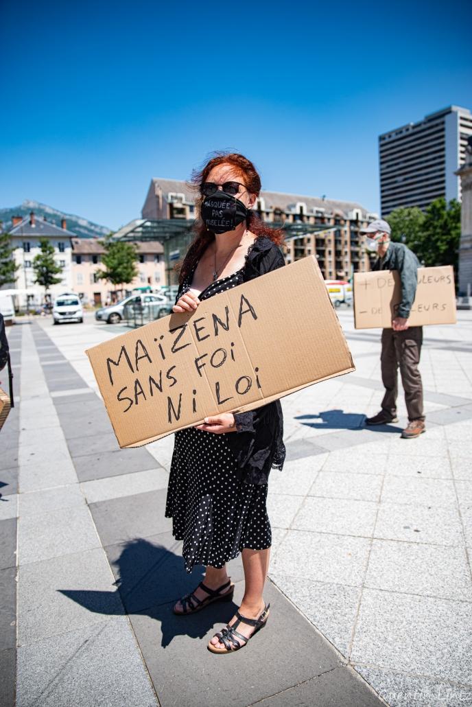 """pancarte """"Maïzena sans foi ni loi"""""""